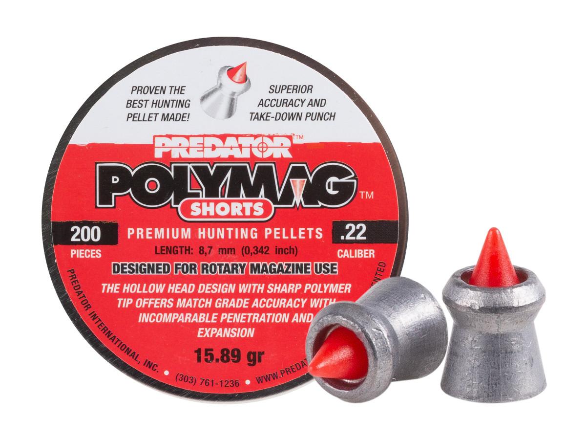 1199 Predator Polymag Shorts, .22 Cal Pellets, 15.75 Grains, Pointed, 200ct